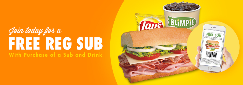 Blimpie eClub | Enjoy a Free Reg Sub w/ Purchase of a Regualr Sub & Regular Drink