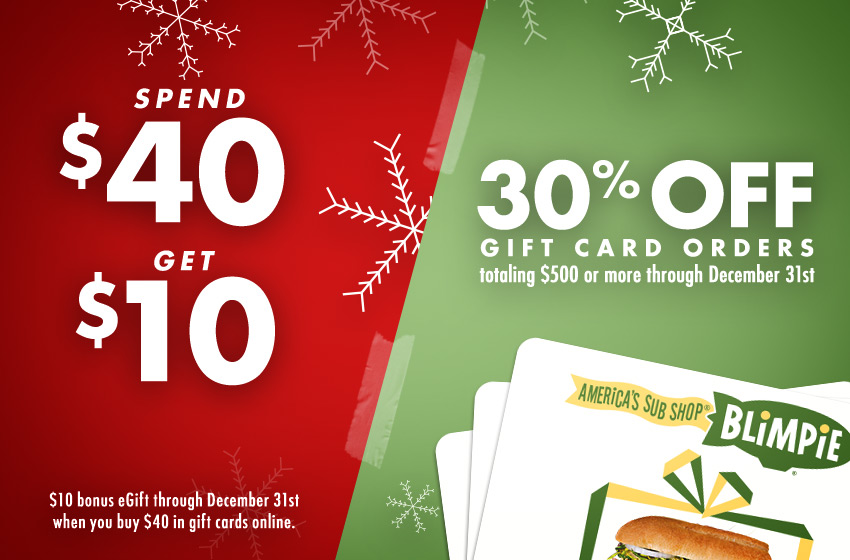 spend $40 get $10 bonus egift through december 31st when you buy $40 in gift cards online. 30% off gift card orders totaling $500 or more through december 31st.